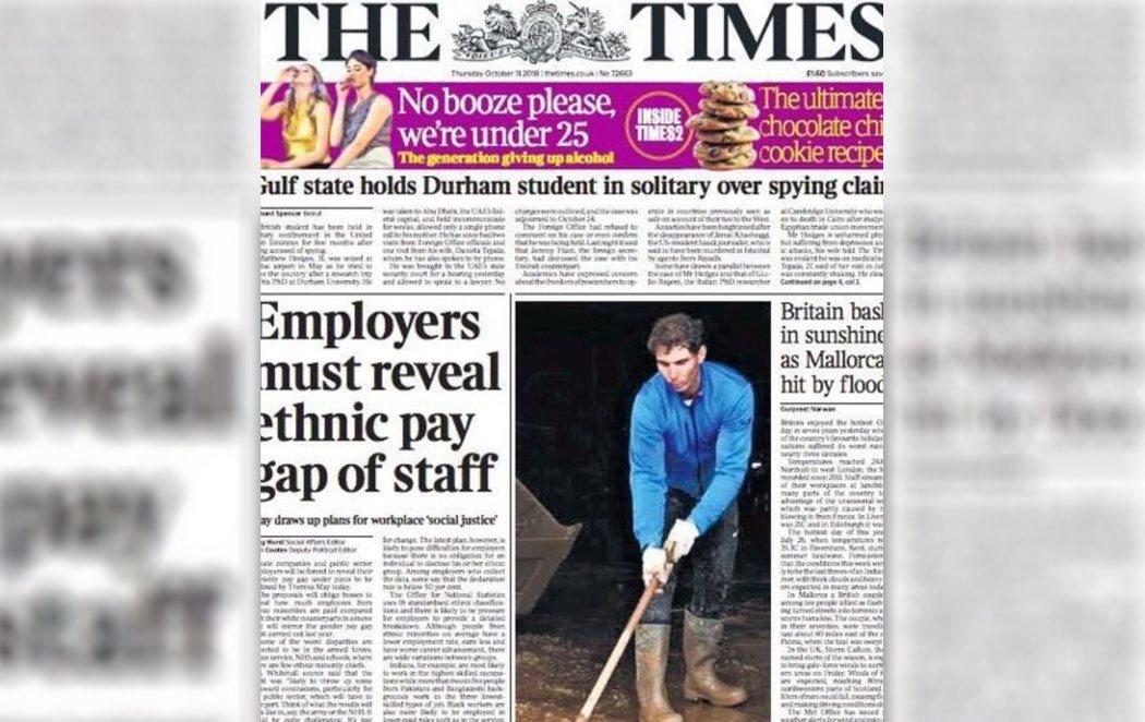 Rafa Nadal, portada de The Times ayudando en la catástrofe de Mallorca