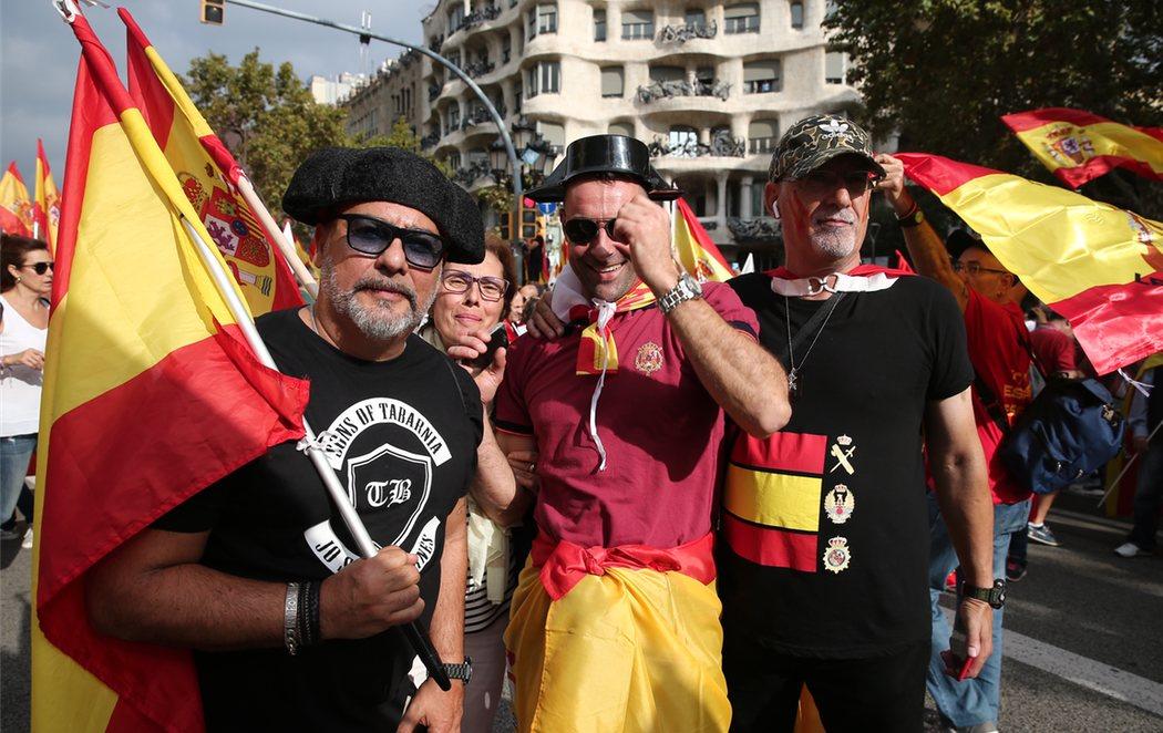 Manifestación en Barcelona por la unidad de España en el 12-O