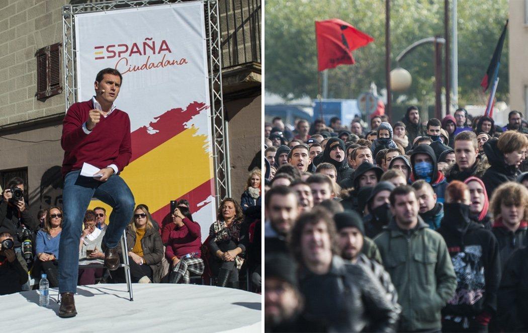 """Ciudadanos celebra en Alsasua un acto en defensa de la Guardia Civil entre gritos de """"fuera de aquí"""""""