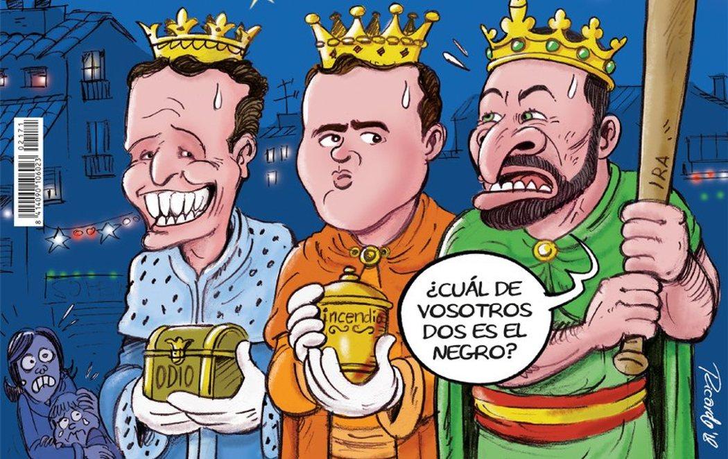 La última portada del año de El Jueves: Casado, Rivera y Abascal como los Reyes Magos del odio
