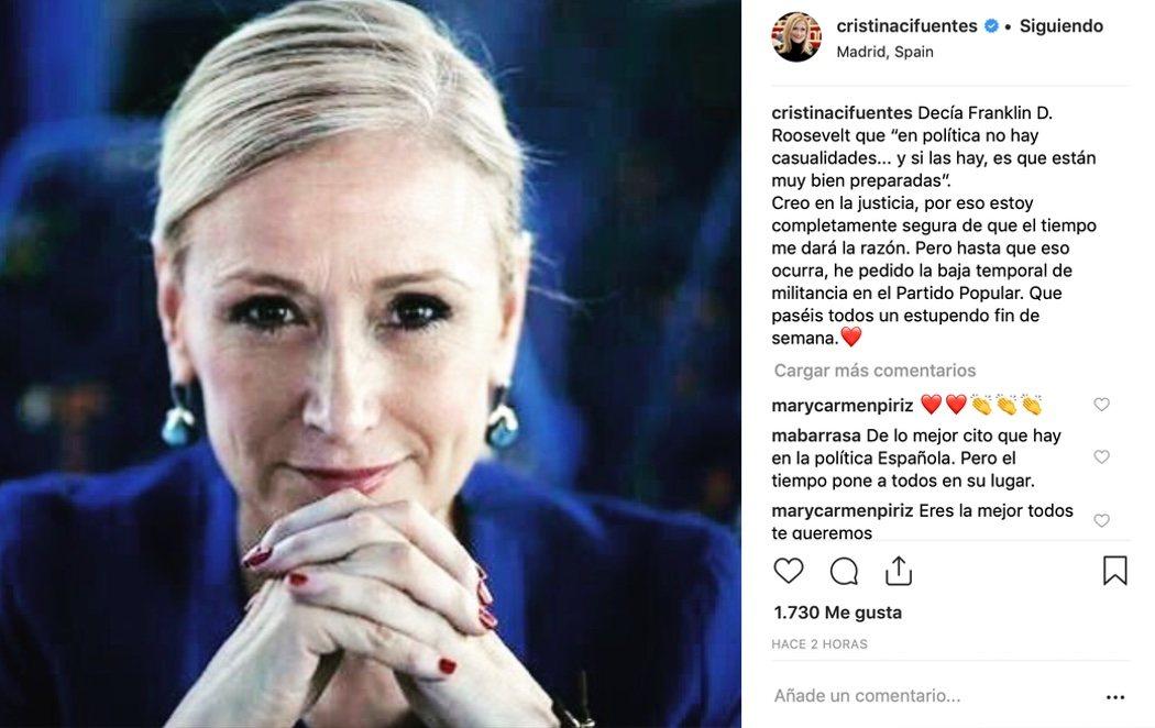 """Cristina Cifuentes pide la baja temporal de militancia en el PP: """"El tiempo me dará la razón"""""""