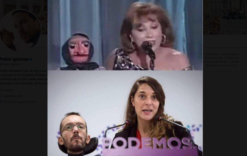 Pablo Iglesias comparte un meme que compara a Echenique con doña Rogelia