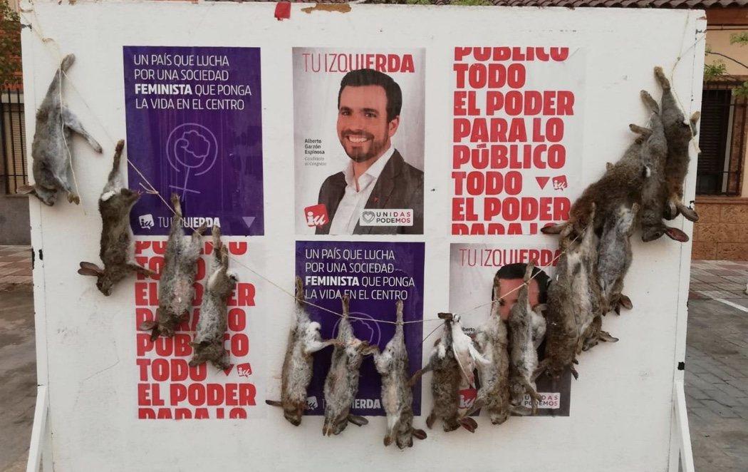 Cuelgan 16 conejos muertos en el cartel electoral de Alberto Garzón de un pueblo toledano