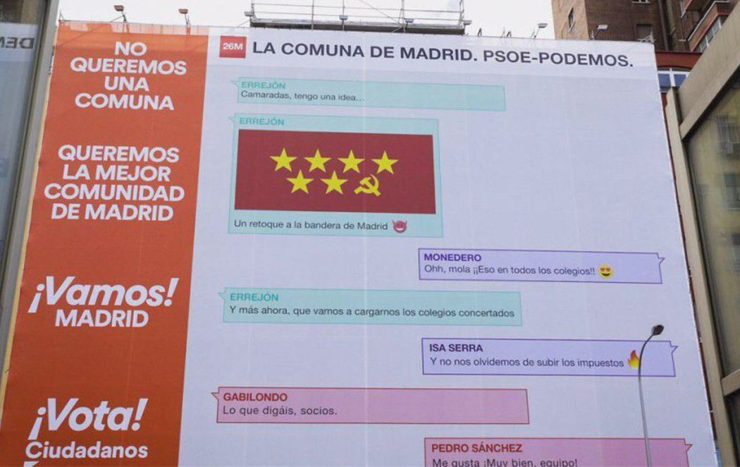 """La ridícula campaña de Ciudadanos que advierte de la """"comuna"""" que sería Madrid si gobiernan PSOE y Podemos"""