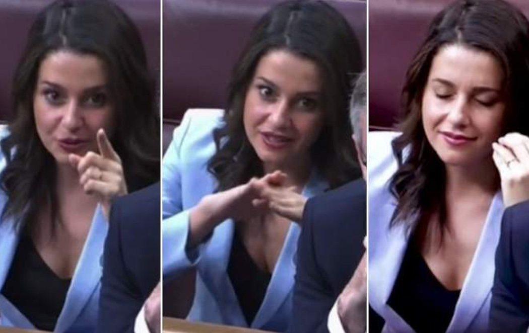 Los gestos macarras de Inés Arrimadas durante el debate de investidura que han indignado a las redes