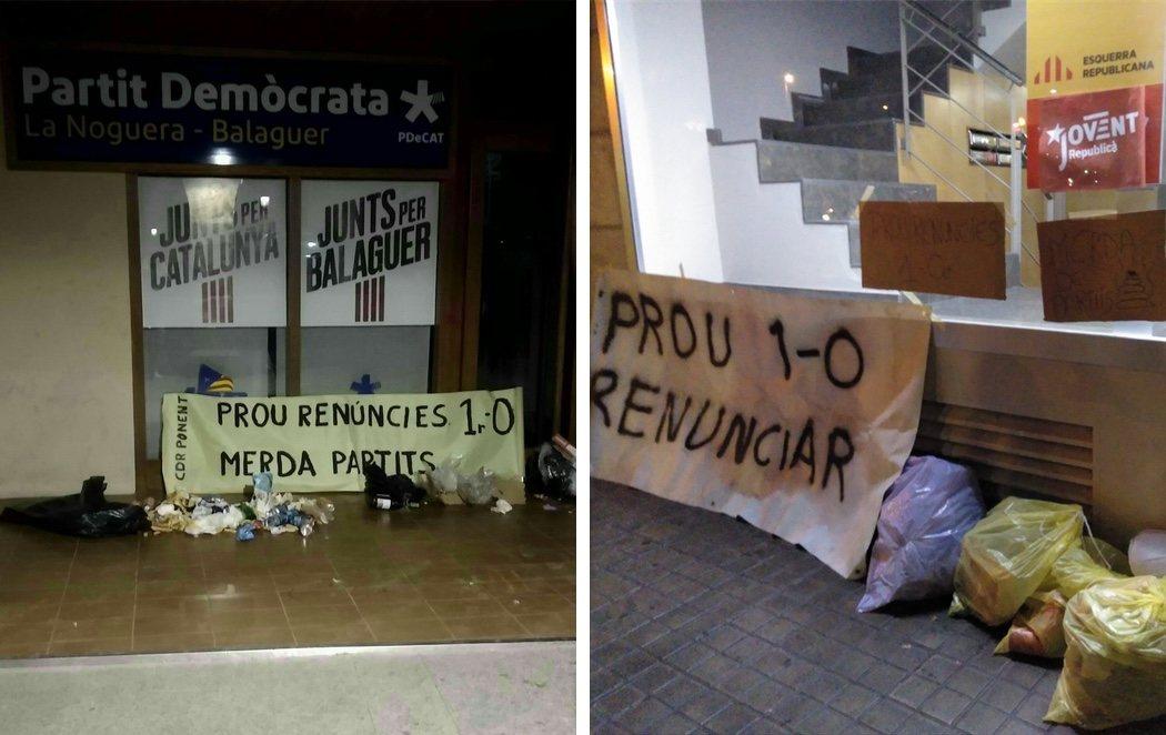 """Los CDR llenan de excrementos las sedes de PDeCAT y ERC y avisan: """"El pueblo manda, ¿está claro?"""""""