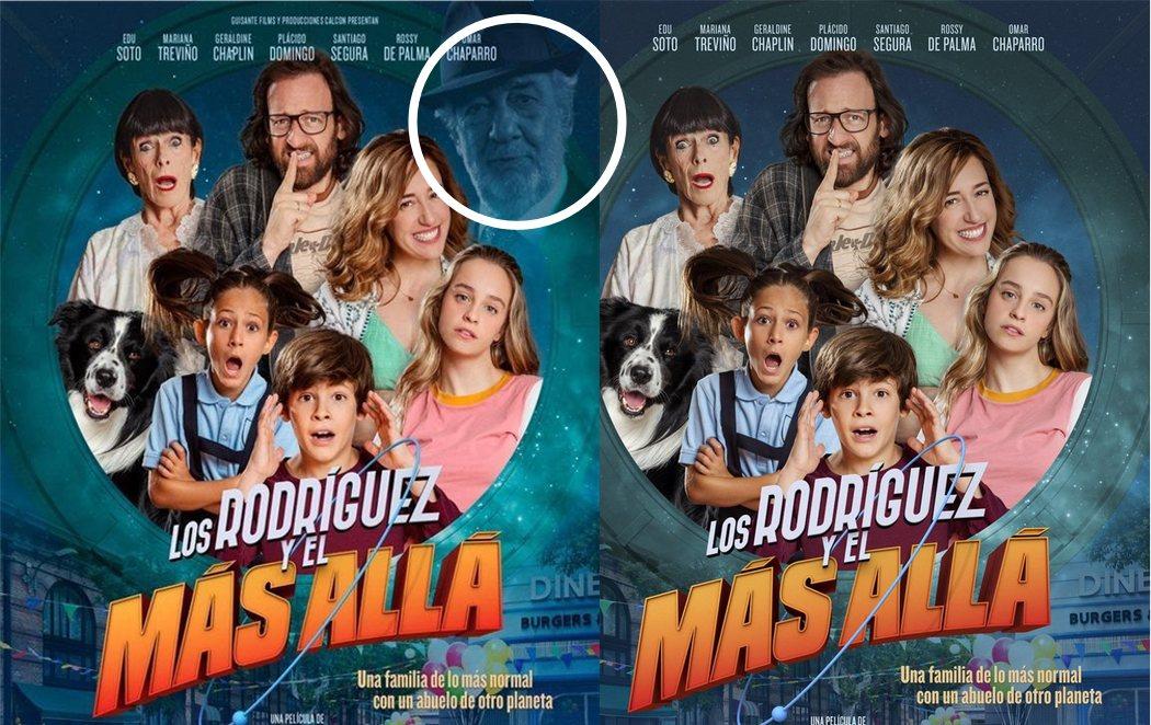Borran el rostro de Plácido Domingo del cartel de la película 'Los Rodríguez y el más allá'