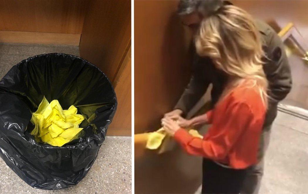 Cayetana Álvarez de Toledo retira lazos amarillos de la sede de TV3 y los lanza a la basura