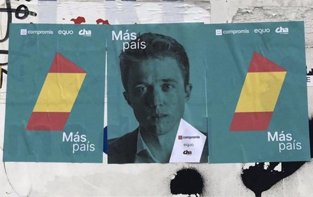Errejón añade la bandera de España en la propaganda electoral