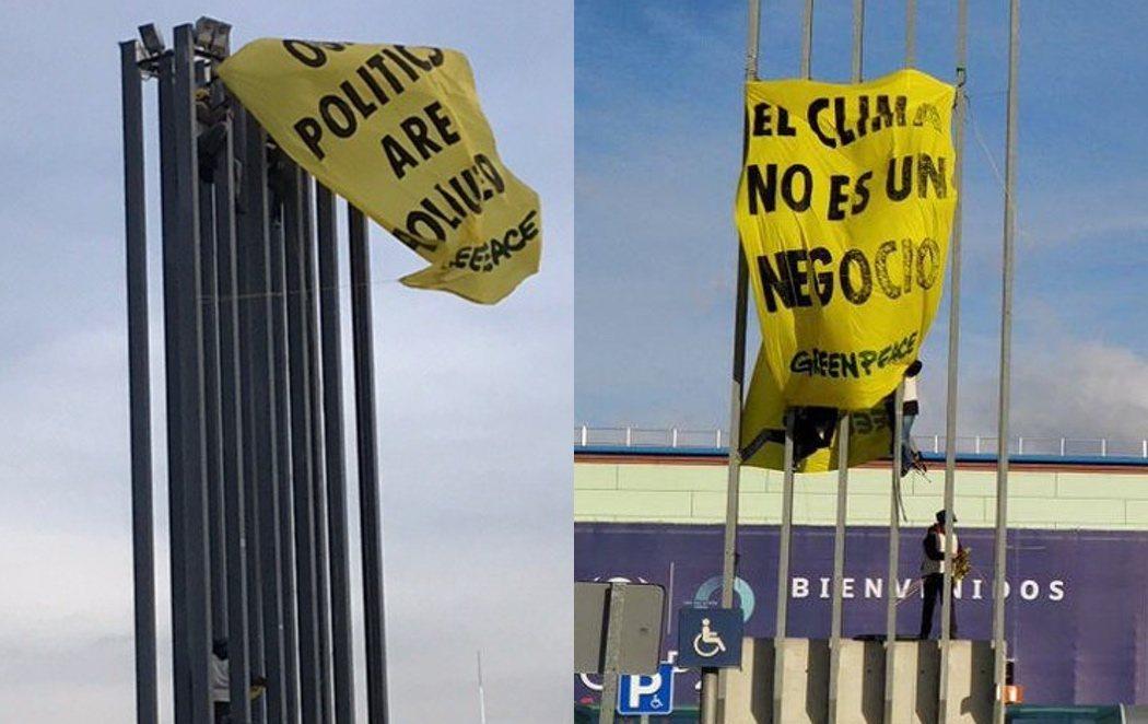 """Greenpeace protesta en la Cumbre del Clima: """"Nuestros políticos están contaminados"""""""