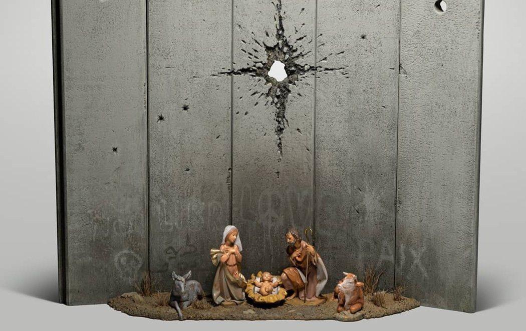 Banksy reinventa el Belén para adaptar el nacimiento de Jesucristo a la realidad de Palestina