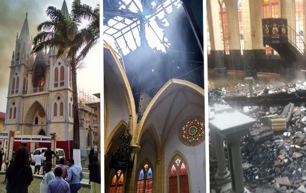 Un incendio como el de Notre Damme consume la histórica catedral de Malabo en Guinea