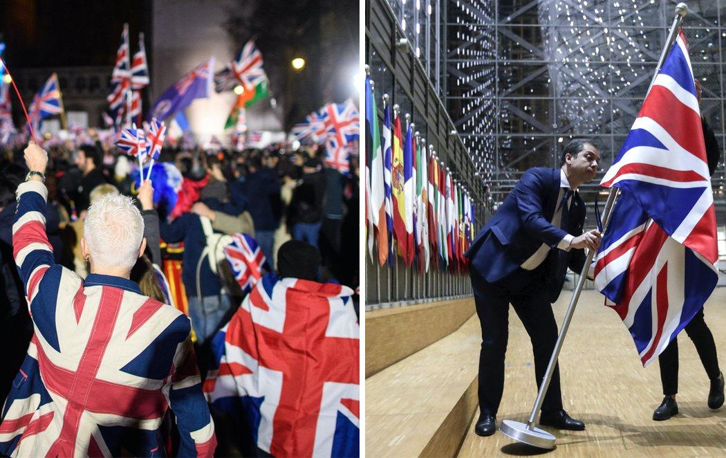 Londres celebra la salida del Reino Unido de la Unión Europea, que retira su bandera del Parlamento