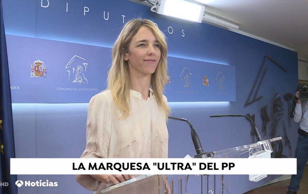 """""""La marquesa ultra del PP"""": el polémico rótulo del informativo de Antena 3 para referirse a Cayetana Álvarez de Toledo"""