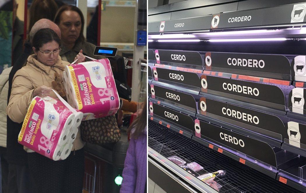 Pánico en los supermercados: estanterías vacías y colas por el coronavirus