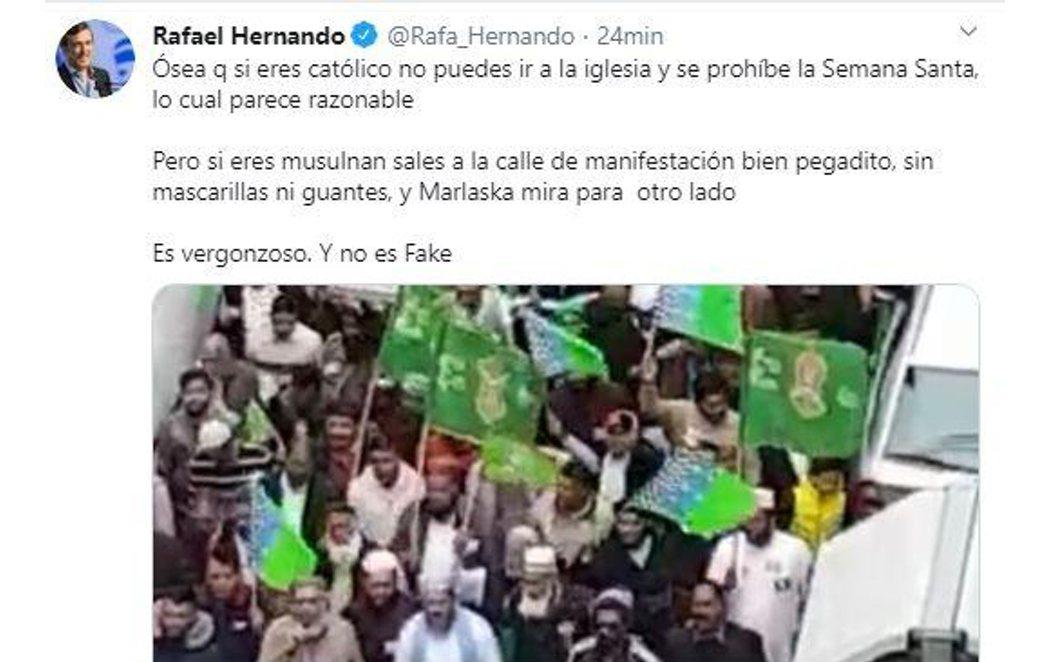 Nuevo bulo de Rafael Hernnado (PP) utilizando imágenes de 2018 para acusar a los musulmanes de saltarse el confinamiento