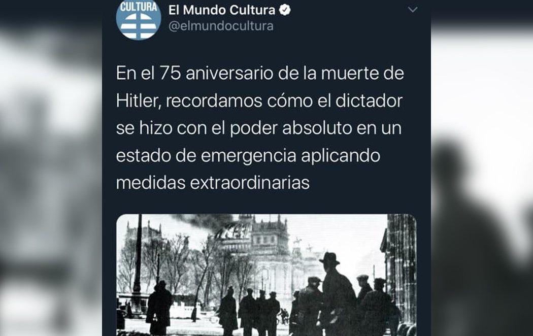 Críticas al diario El Mundo por comparar el auge del nazismo con el actual estado de alarma