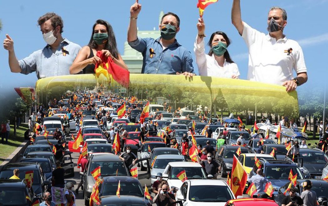 La extrema derecha se monta una cabalgata en la protesta de VOX contra el Gobierno