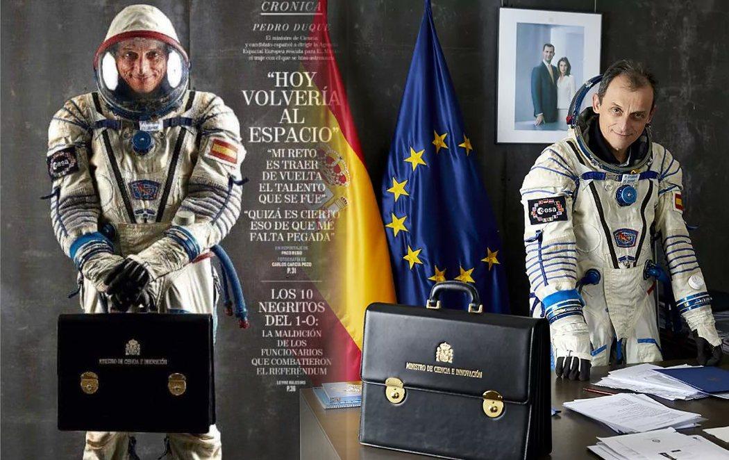 Pedro Duque se viste de astronauta para salir en la portada de El Mundo