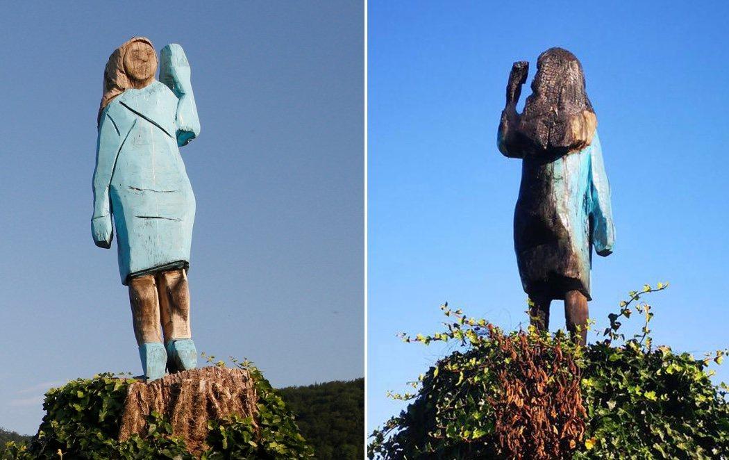 Queman la estatua de madera de Melania Trump en su pueblo natal de Eslovenia