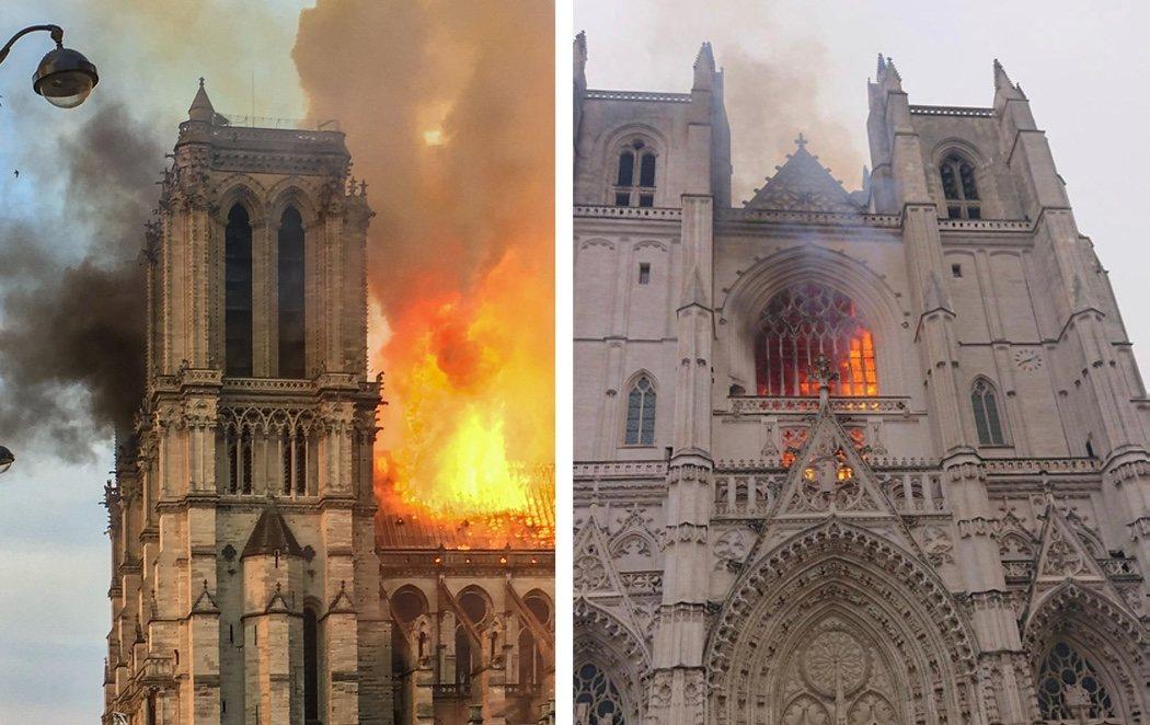 """Arde la catedral gótica de Nantes: Francia investiga """"un fuego provocado"""""""