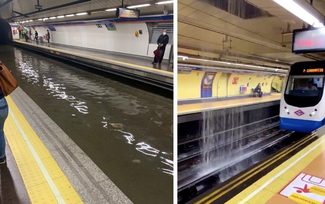 Pánico en el Metro de Madrid: trenes, andenes y pasillos convertidos en una enorme piscina