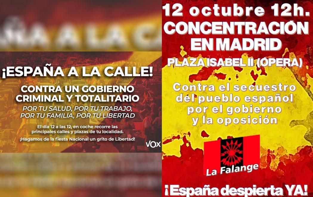 VOX y La Falange se unen convocando manifestaciones el 12-O en contra del estado de alarma de Madrid