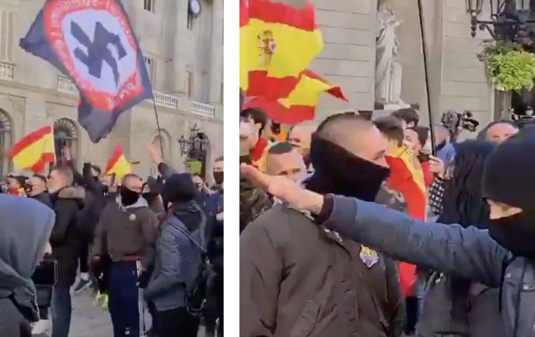 """Varios militantes neonazis acompañan a VOX en su acto de Barcelona """"por la Constitución"""""""