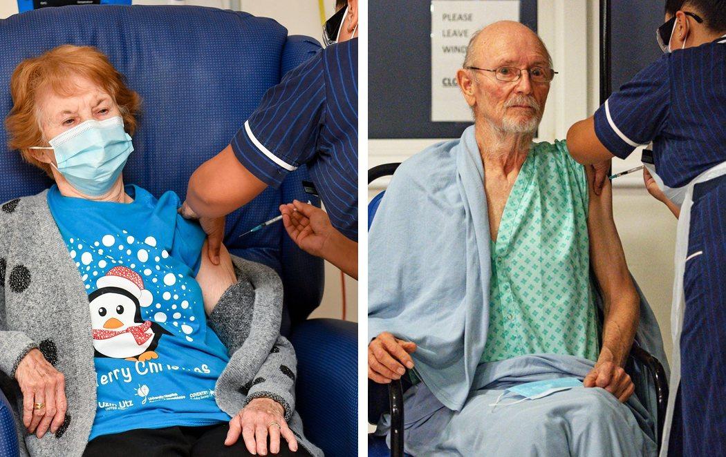 Maggie Keenan y William Shakespeare, de 90 y 81 años, los primeros del mundo en recibir la vacuna de Pfizer contra el coronavirus