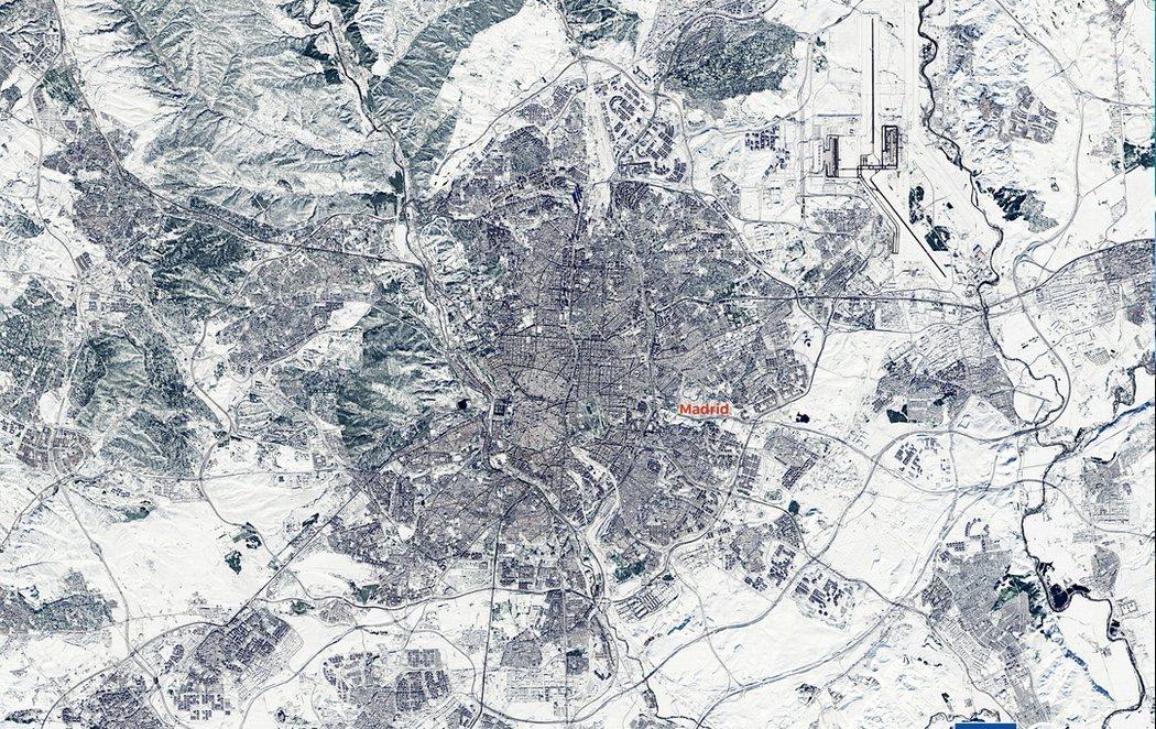 Madrid completamente sepultada por la nieve bajo los efectos de la borrasca Filomena, vista desde el espacio