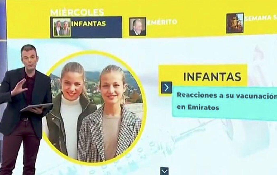 TVE pide disculpas tras ilustrar la noticia de la vacunación de las infantas con una imagen de la princesa Leonor