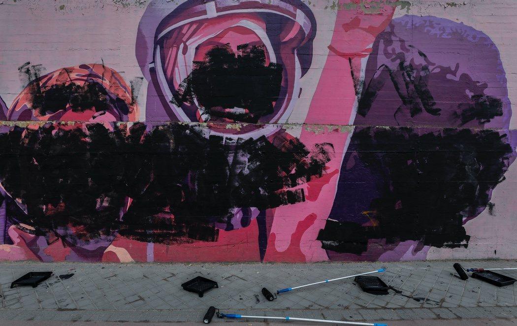 Destrozan el mural feminista de Ciudad Lineal en Madrid coincidiendo con el 8M