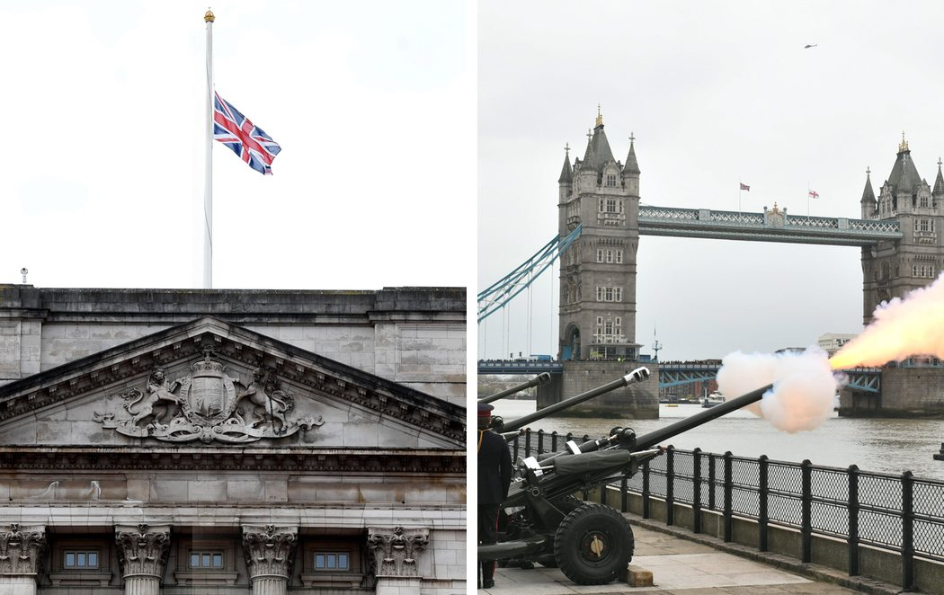 Salvas y banderas a media asta en Reino Unido por la muerte del duque de Edimburgo