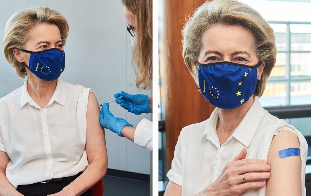 Ursula von der Leyen, presidenta de la Comisión Europea, se vacuna contra el coronavirus