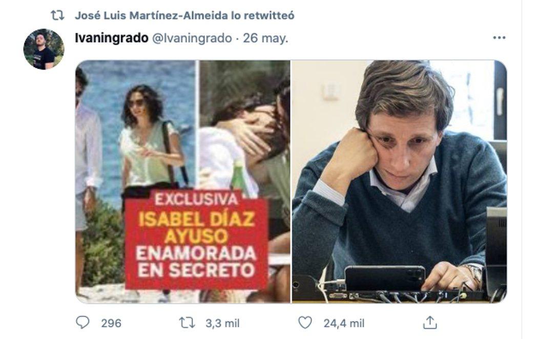 El llamativo 'retuit' de Almeida tras ver las fotos de Ayuso con su nuevo novio en Ibiza