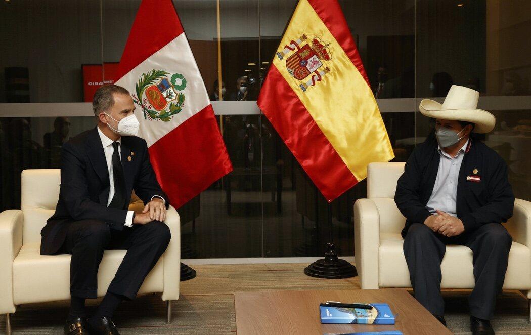 """Pedro Castillo, en su toma de posesión como presidente de Perú, ante Felipe VI: """"Hay que romper con símbolos coloniales"""""""