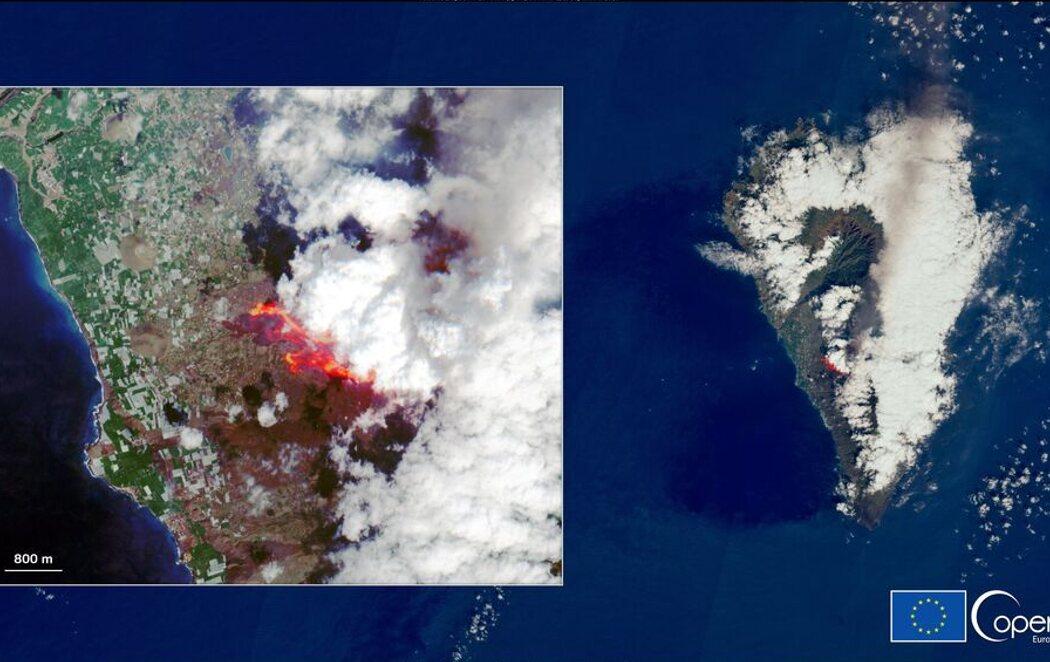 El satélite Copernicus capta cómo se ve el volcán de La Palma desde el espacio