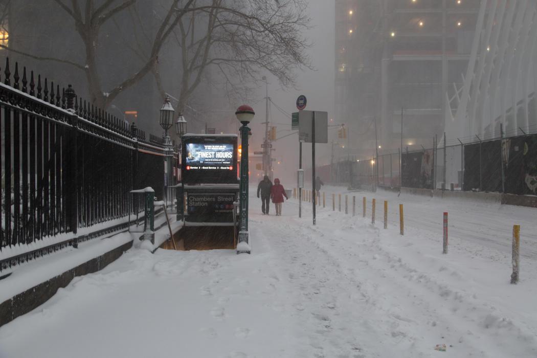 Downton Nueva York cubierta por la nieve