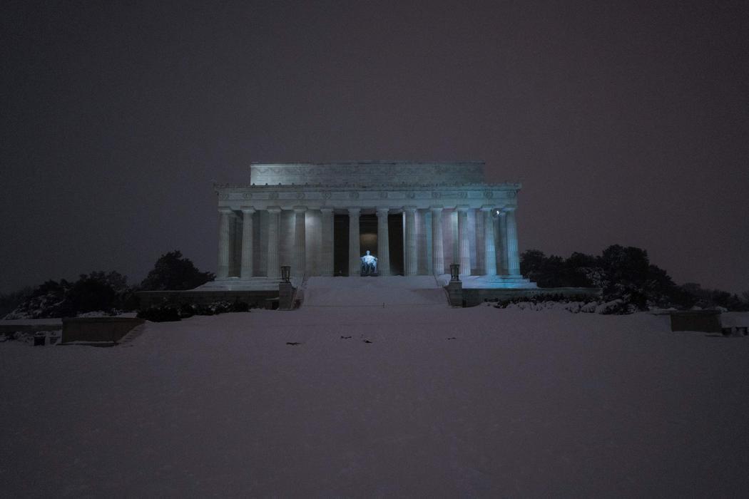 El Monumento a Lincoln bajo la nieve