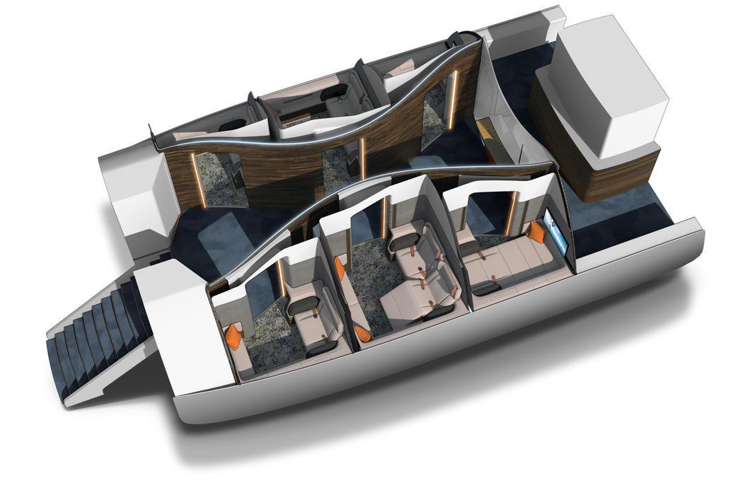 Compartimentos de diferentes tamaños en primera clase