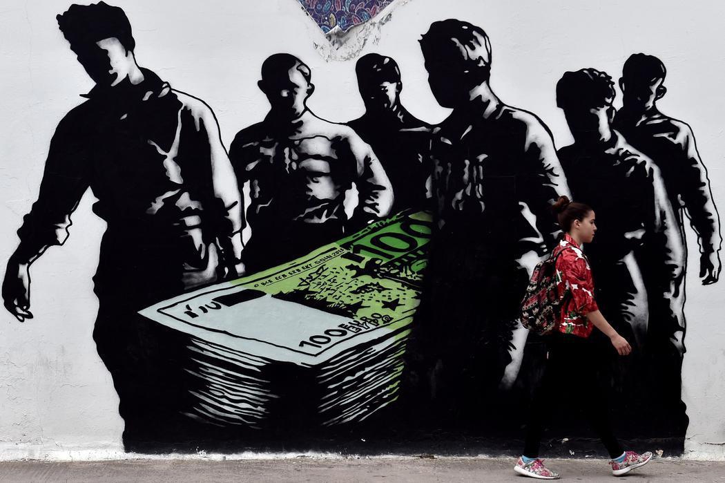 La crisis griega en las paredes de Atenas
