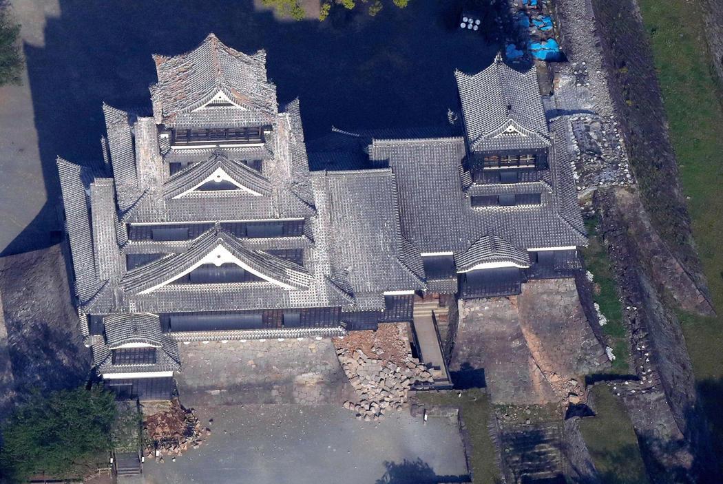 El Castillo de Kumamoto tras el terremoto
