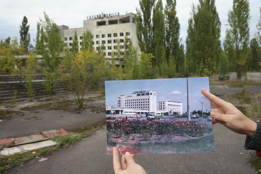 La plaza mayor de Pripyat, antes y después del accidente nuclear de Chernobyl