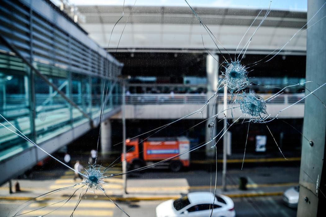Impactos de bala por el atentado de Atatürk
