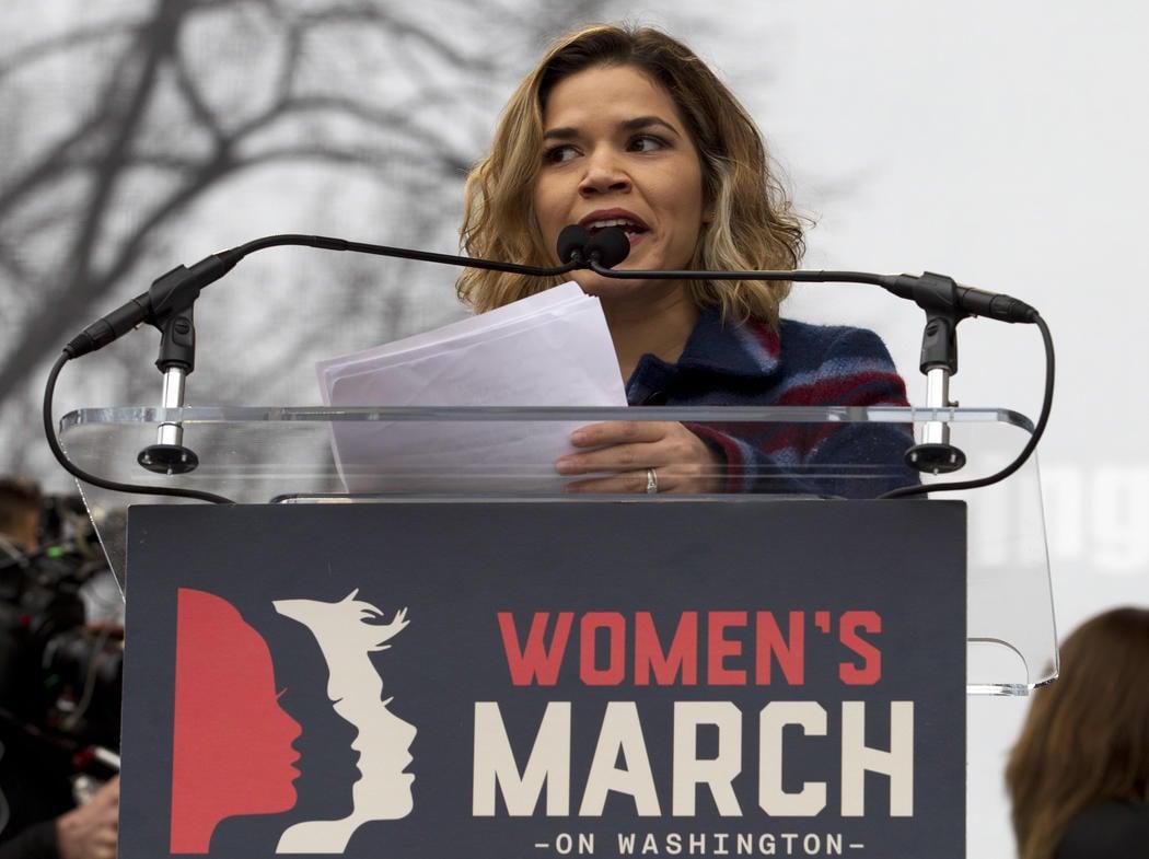 America Ferrera durante su discurso en la Women's March