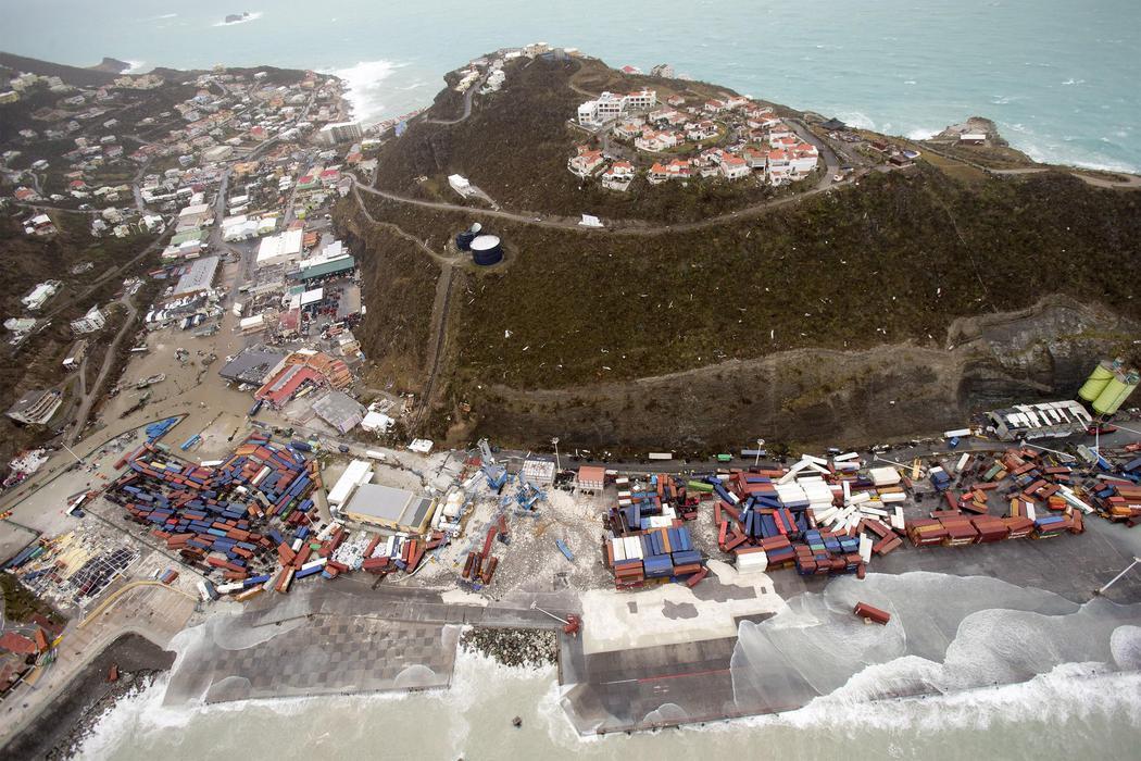 La isla de San Martín sufriendo las consecuencias del huracán Irma