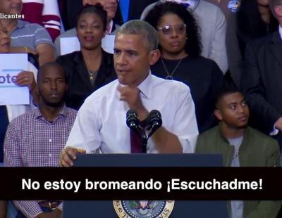 Barack Obama da una lección de política ante un votante de Donald Trump
