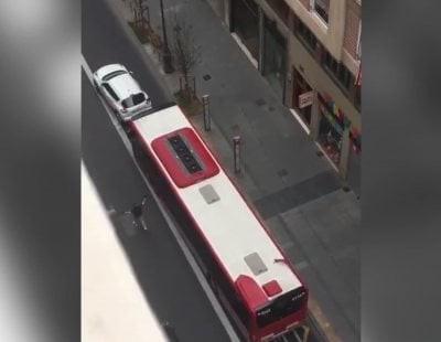 Un autobús embiste y arrastra varios metros a un coche en Valencia